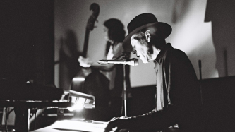 Jandek performing on stage at Anthology Film Archives NY 05