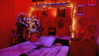 A shot of a boldly decorated bedroom, red walls, fairy lights, myriad flowers
