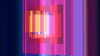 Several brightly coloured abstract square forms are complexly layered