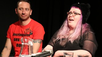 Luca and Lói during a panel discussion at CCA Glasgow
