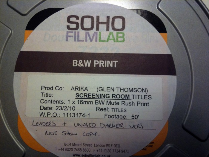 A close up of a label on a 16mm film tin from Soho Film Lab