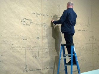 Brandon La Belle up a ladder writing a map of notes on a wall covered in paper
