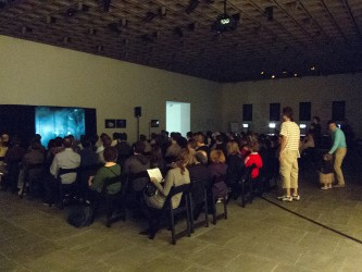 An audience in a gloomy gallery watches images on an articulated screen