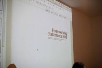A shot of a screen showing a paper at the discussion