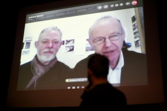 A shot of the two filmmakers giving a Skype interview