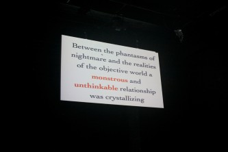 "A shot of a screen with text that begins, ""Beyond the phantasms..."""