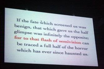 "A shot of a screen with text that begins, ""If the fate that screened us..."""