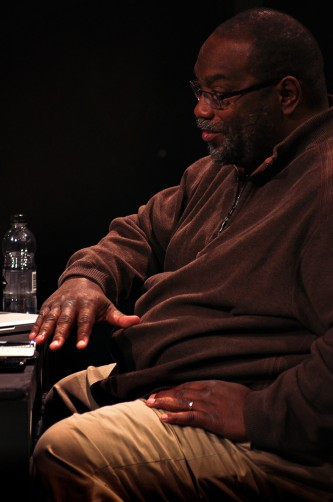 Fred Moten speaking during a discussion at Episode 4