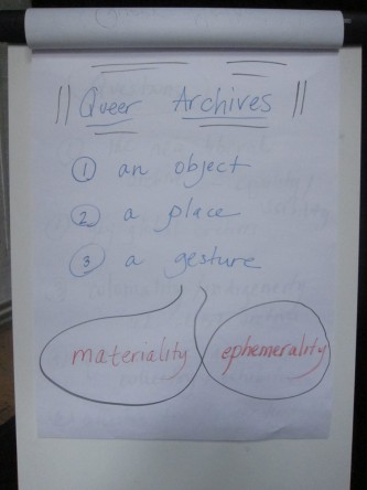 A flipchart of statements used in the discussion about queer archives