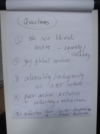 A flipchart of questions used in the discussion about queer archives
