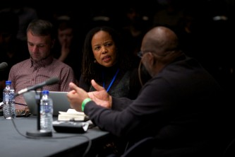 Saidiya Hartman looks towards Fred Moten as they discuss together