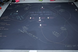 A map of words and connections in chalk and tarot cards on black lino