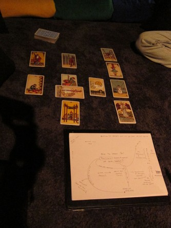A spread of tarot cards is behind a paper with a map of the discussions