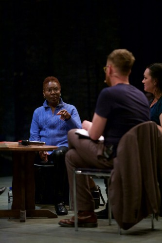 Hortense Spillers points towards Barry Esson during a discussion