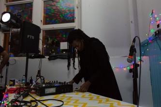 Moor Mother DJ-ing at the Kinning Park Complex