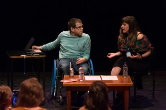 Robert Softley Gale and Maxine Meighan taking part in a discussion