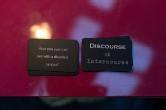 "cards: ""have you ever had sex with a disabled person"" "" discourse or intercourse"