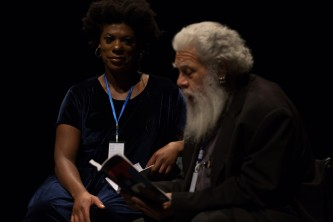 KUCHENGA and Samuel R Delany sitting on stage at Episode 9