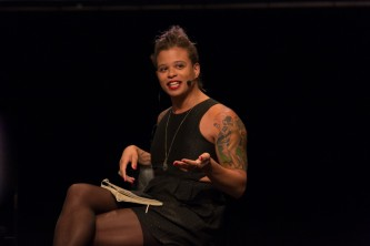 Reina Gossett speaks to the audience during an event.