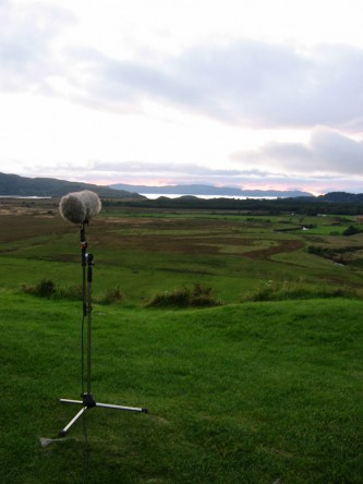 A microphone on a heath pointing down the glen