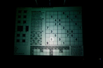 A screen showing a suduko page projected