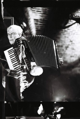 Pauline Oliveros playing the accordion