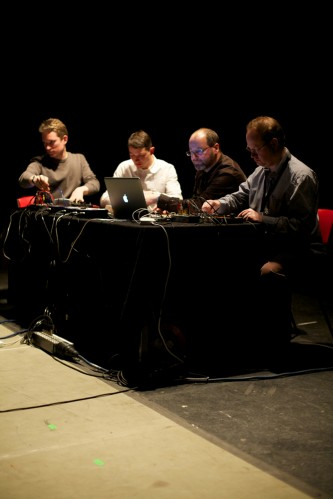 Resonance Radio Orchestra performing with laptops and electronic apparatus