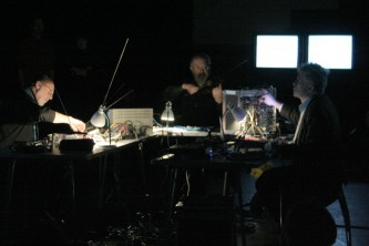 Kjell Björgeengen, Keith Rowe & Philipp Wachsmann with equipment and screens