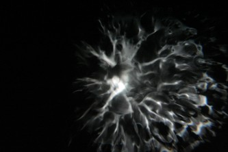 fungal thread like forms of light on an IMAX screen