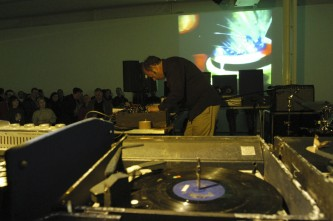 Philip Jeck with turntables