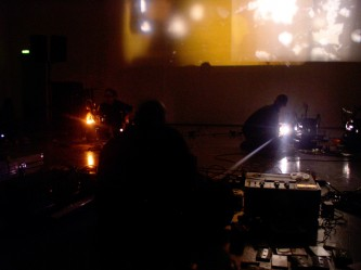 Projections and projectors in a room, lights and dark corners
