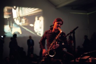 Ulrich Kreiger playing a saxophone at KYTN 04