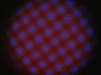 A pale red glow spotted with purple dots against a projection screen