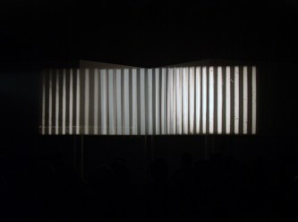 Ten Years Alive on the Infinite Plane projection, vertical lines on four panels
