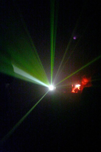 Beams of light emanating from a projector