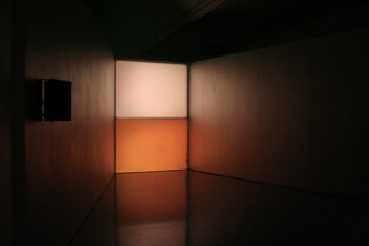 Two rectangular forms of light in a corner