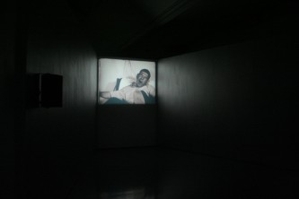 Black and white still of an installation