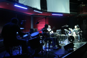 Aufgehoben on stage among drum kits and amplifiers at MLFC 07