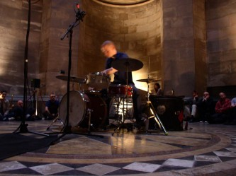 Chris Corsano playing drums inside Hamilton Mausoleum