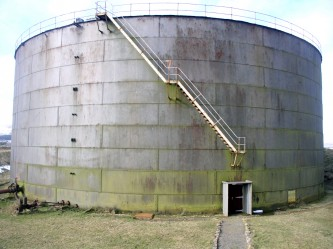 Exterior of Lyness Oil Tank