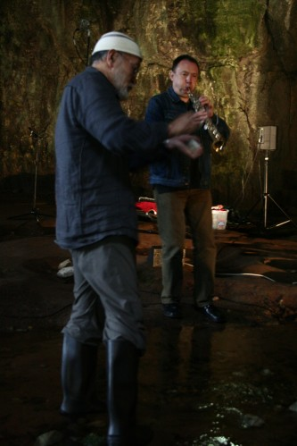 John Butcher and Akio Suzuki performing in Smoo Cave