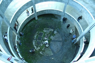 Sean Meehan viewed from high up within a circular structure