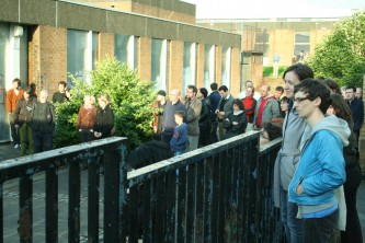 Audience assembled for performance in Easterhouse