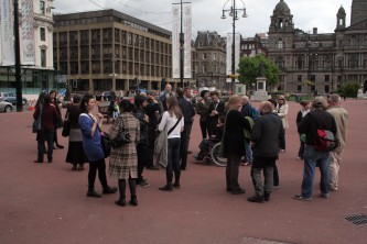A group of people in George Square, Glasgow