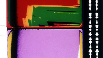 Two frames from a 16mm film with blocks of red, green, pink and yellow