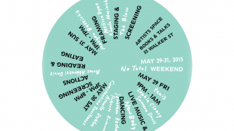 A turquoise circle has small texts that lists the performers at an event