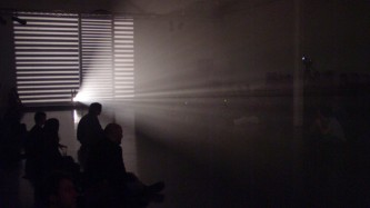 Projection of LIGHT MUSIC by Liz Rhodes in DCA Dundee