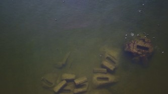 A shot of murky green and brown water with several rectangular bricks submerged