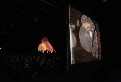 in a dark arched room an audience watches a screen showing nylon being melted