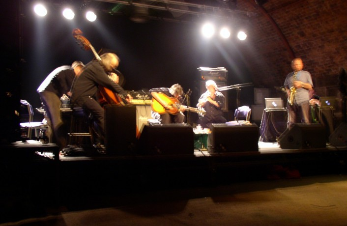 Paragon Ensemble on stage in the arches at INSTAL 03